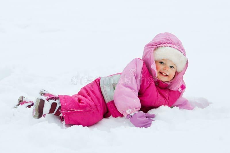 Baby in sneeuw royalty-vrije stock foto's