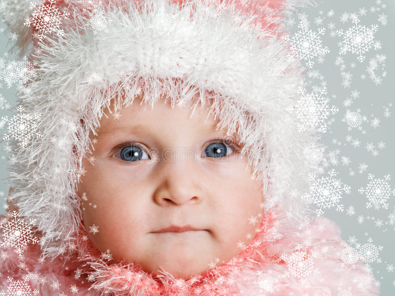 Download Baby and snow stock image. Image of season, blue, small - 4292395
