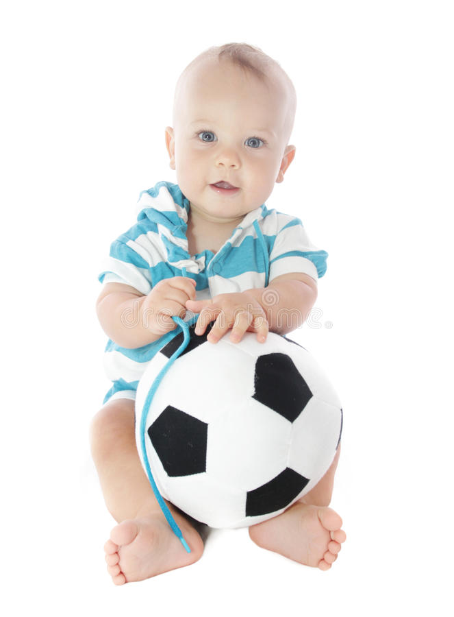 Download Baby with Soccer Ball stock photo. Image of sports, curious - 14813902