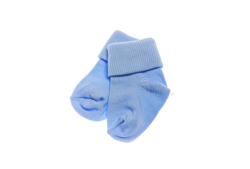 Lovely baby socks for the boy. Close-up. Baby socks for the boy. Isolated on white background royalty free stock images