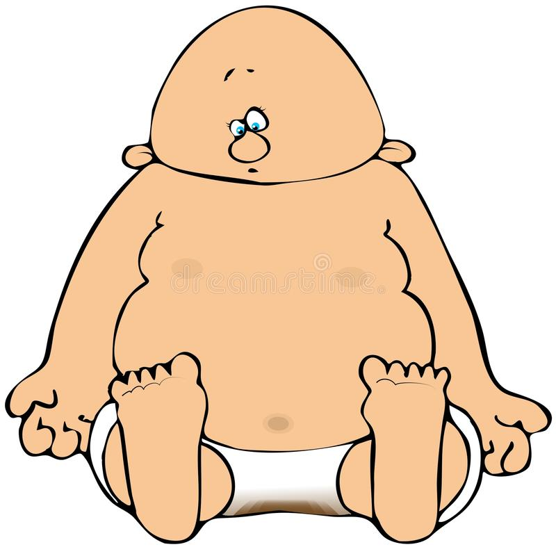 Baby With Soiled Diapers. This illustration depicts a baby sitting in soiled diapers vector illustration