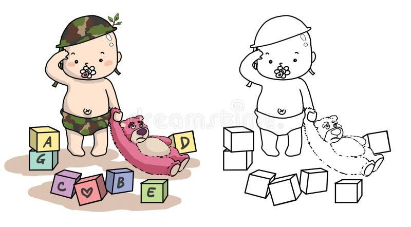 Baby in solider eenvormig met roze teddybeer stock illustratie