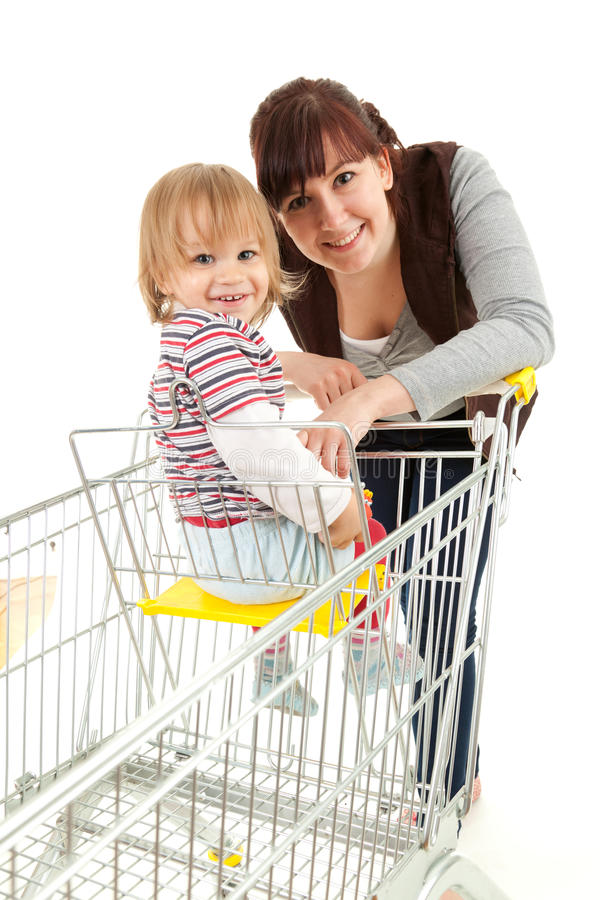 Download Baby Son In Trolley With Mother Taking Shopping Stock Image - Image of cheerful, baby: 24765767