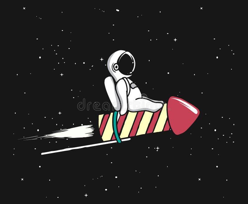 Baby spaceman flying on firework rocket stock illustration