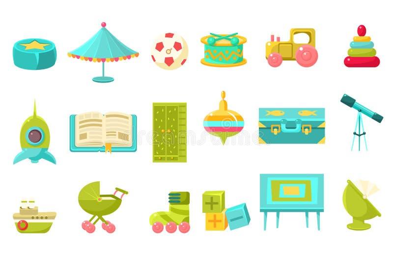 Baby spielt großen Satz, Vorschulkinderspielwaren und Möbel für Kindertagesstättenvektorillustration lizenzfreie abbildung