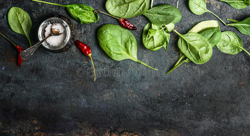 Baby spinach leaves on rustic background, top view, banner. Healthy eating concept royalty free stock images