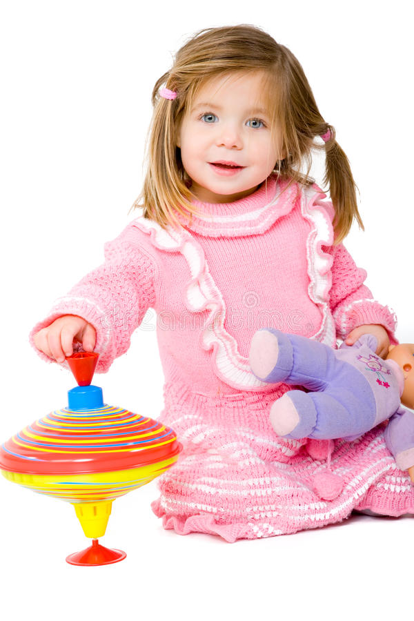 Baby with Spinning Top royalty free stock photo