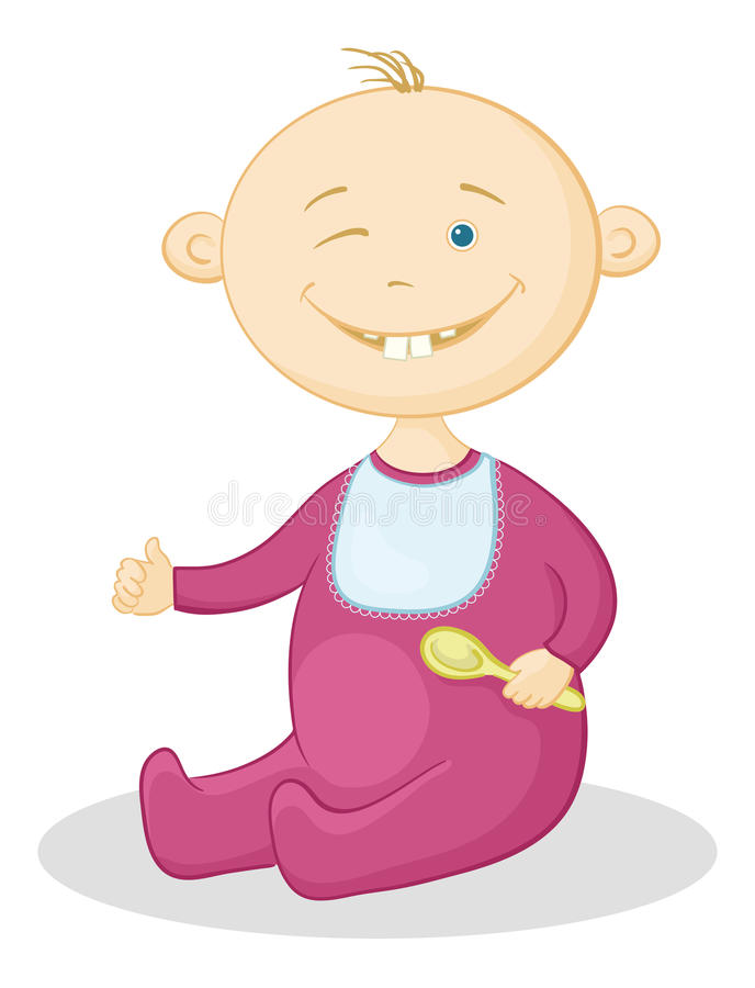 Download Baby with a spoon stock vector. Image of looking, face - 23553654