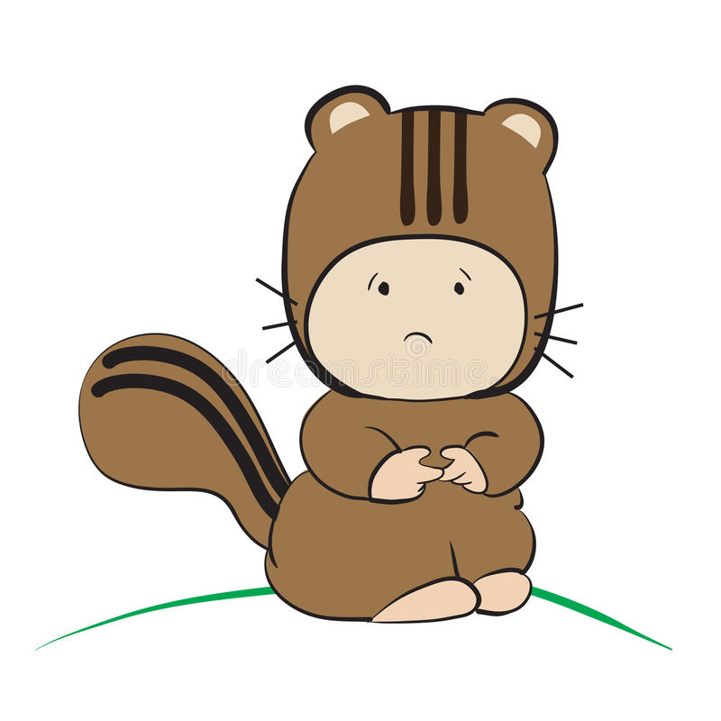 Baby in Squirrel Costume : done in a hand-drawn illustra. Tion style royalty free illustration