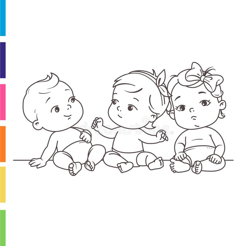 Cute little babies in diaper. Sitting together. Happy children. Girls and boys smiling waving hands, pointing. Coloring page. Outlines. Monochrome. Vector royalty free illustration