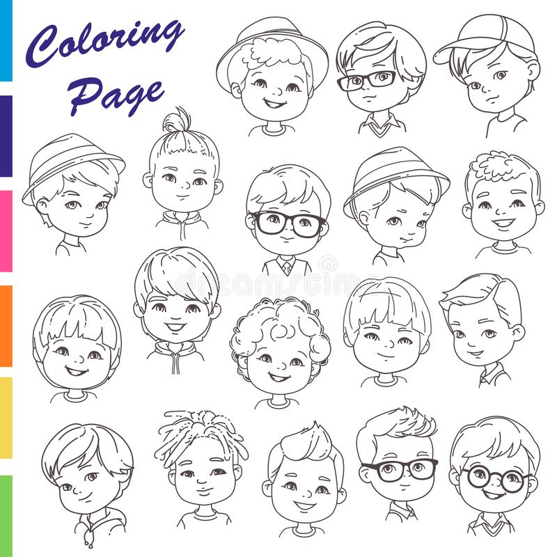 Coloring page. Collection of young boys portraits with different hairstyles royalty free illustration