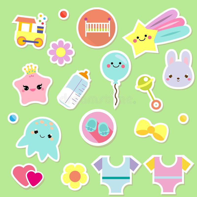 Baby stickers. Kids, children design elements for scrapbook. Decorative vector icons with toys, clothes, sun and other cute newbor. Baby stickers. Kids, children stock illustration