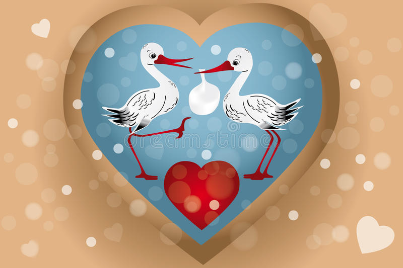 Baby storks. Two cute storks with bag (baby arrival) illustration with hearts, bubbles in retro look - eps 10 vectors vector illustration