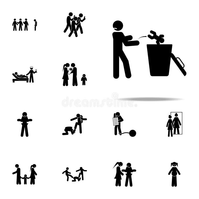 baby, stortplaatspictogram Voor Web wordt geplaatst en mobiel de pictogrammenalgemeen begrip van de jeugd sociaal die kwesties vector illustratie