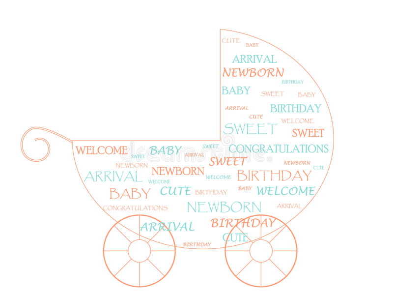 Baby stroller. Made of newborn baby related words vector illustration