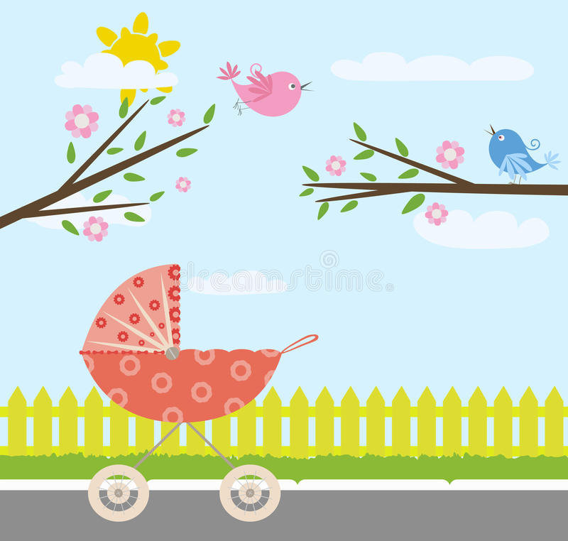 Baby stroller. In spring day with birds vector illustration
