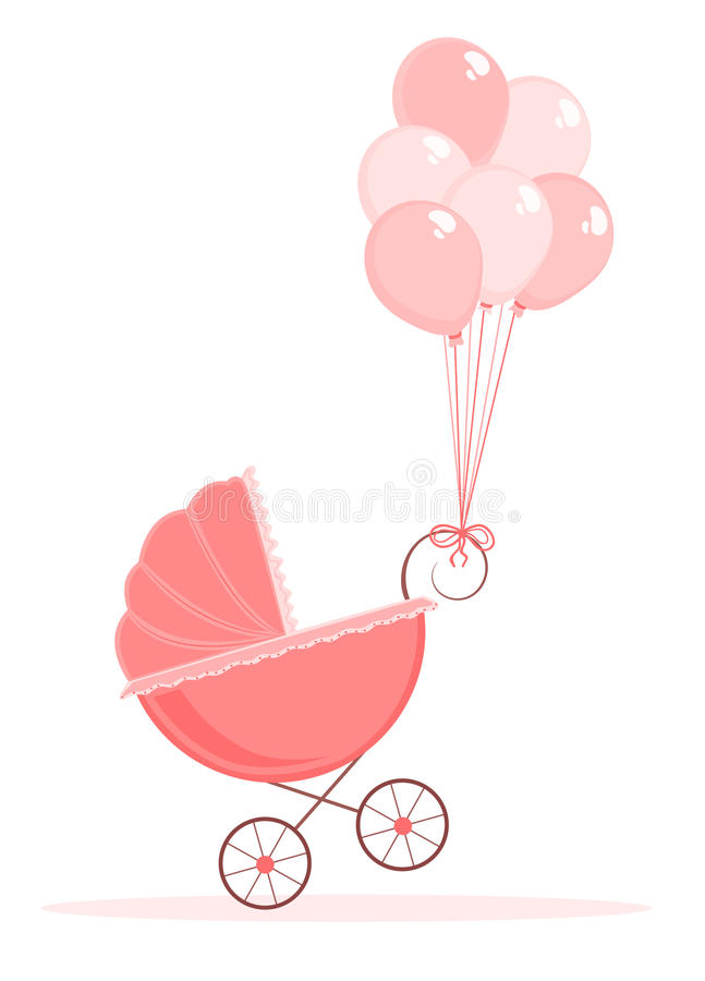 Baby stroller. Illustration of pink baby stroller with balloons vector illustration