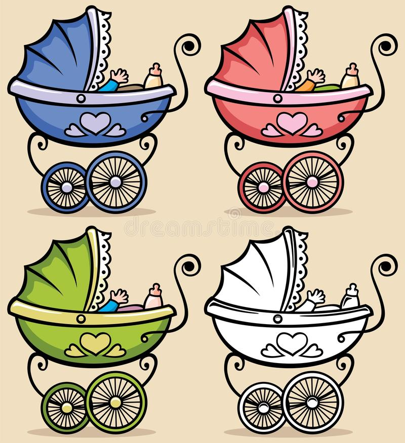 Baby Stroller. Retro baby stroller in 4 versions. No transparency and gradients used vector illustration