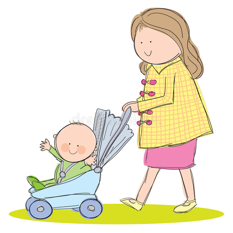 Baby Stroller. Hand drawn picture of mother pushing baby in stroller. Illustrated in a loose style. Vector eps available royalty free illustration