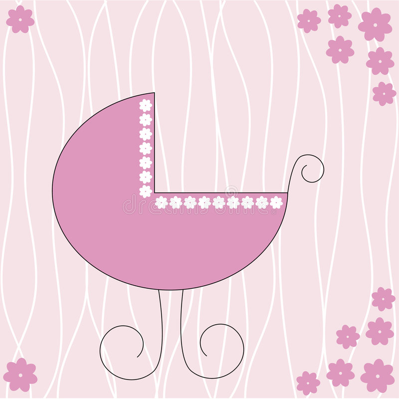 Baby stroller. Pink stroller for a baby girl royalty free illustration