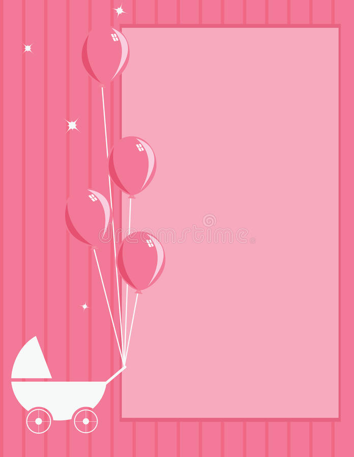 Baby stroller and balloon pink striped background stock image