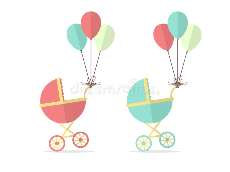 Baby Stroller. For Boy and a Girl with Balloons. Flat Design Style stock illustration