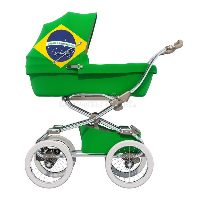 Baby stroller with Brazilian flag texture, 3D rendering stock illustration