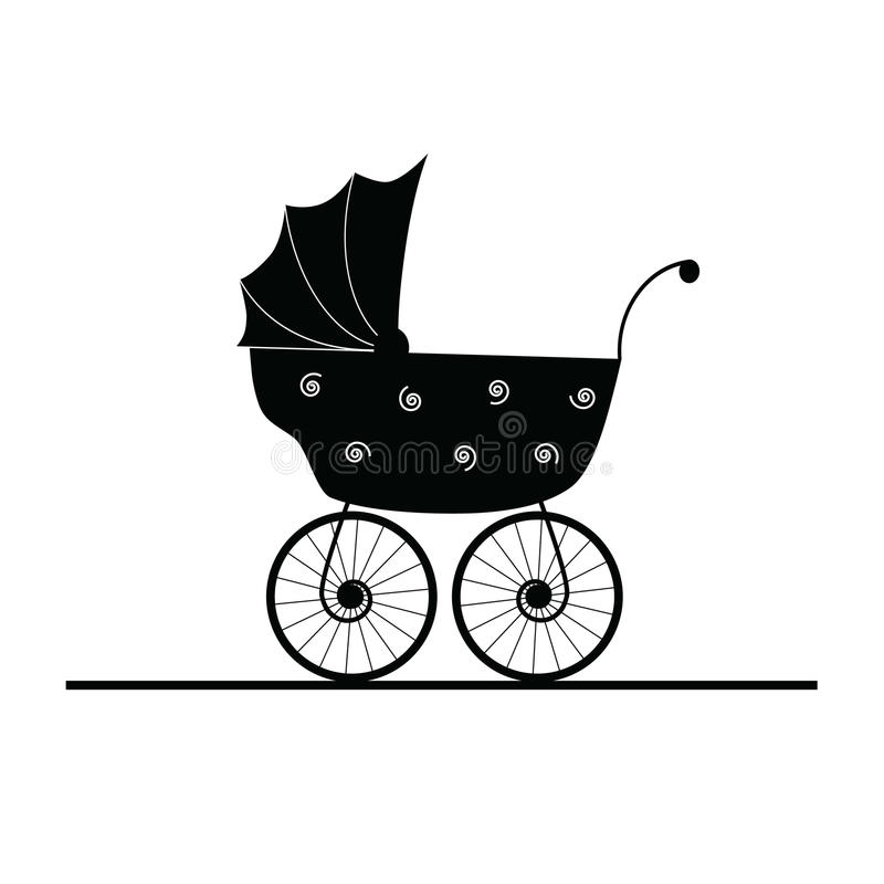 baby stroller coloring page - baby stroller cartoon stock vector illustration of design