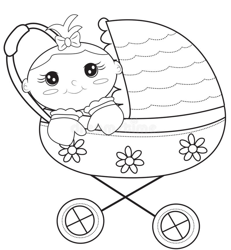 Baby Stroller Coloring Page Stock Illustration ...