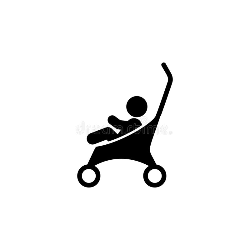Baby stroller icon. Simple glyph vector of universal set icons for UI and UX, website or mobile application. On white background royalty free illustration