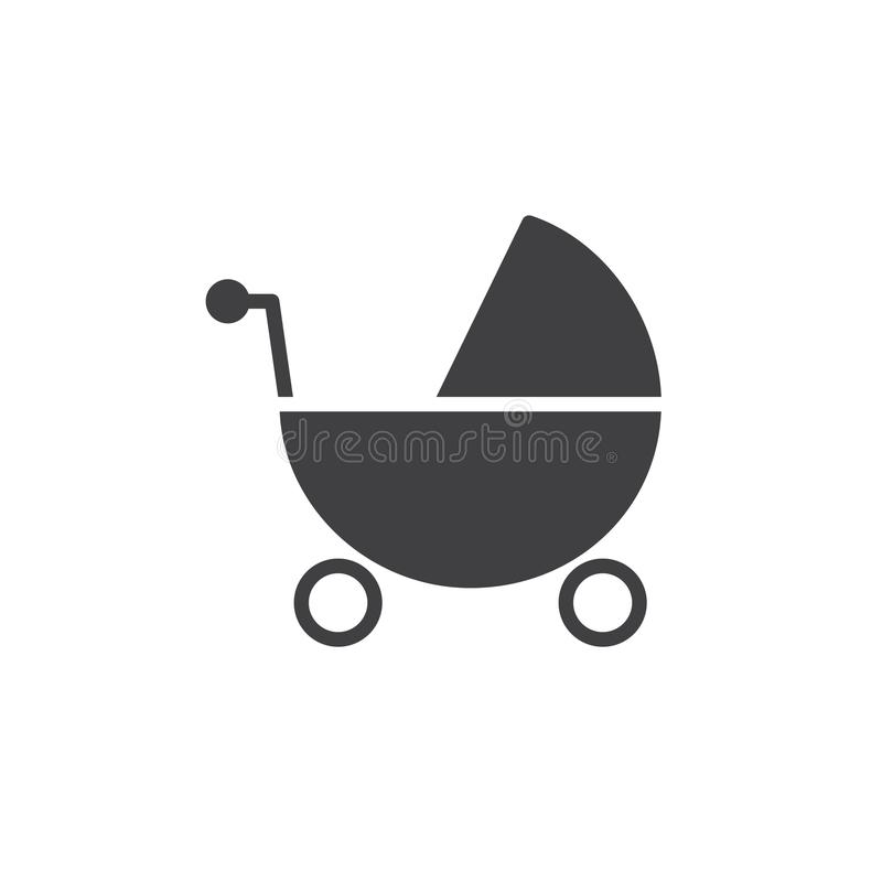 Baby stroller icon vector. Filled flat sign, solid pictogram isolated on white. Symbol, logo illustration royalty free illustration