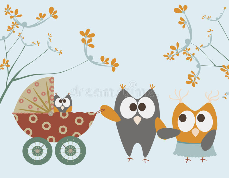 Baby stroller with owls. And flowers royalty free illustration