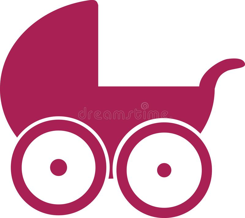 Baby stroller pink stock illustration