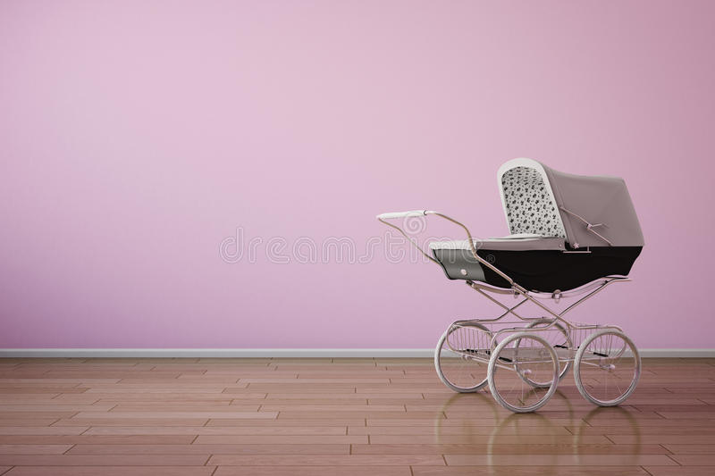 Baby stroller on pink wall. With wooden floor stock illustration