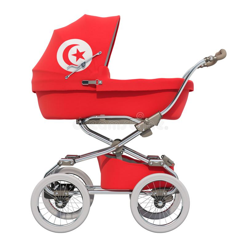 Baby stroller with Tunisian flag texture, 3D rendering royalty free illustration