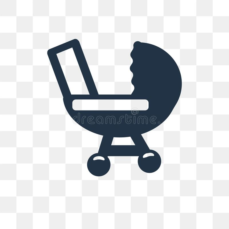 Baby stroller vector icon isolated on transparent background, Ba. By stroller transparency concept can be used web and mobile, Baby stroller icon royalty free illustration