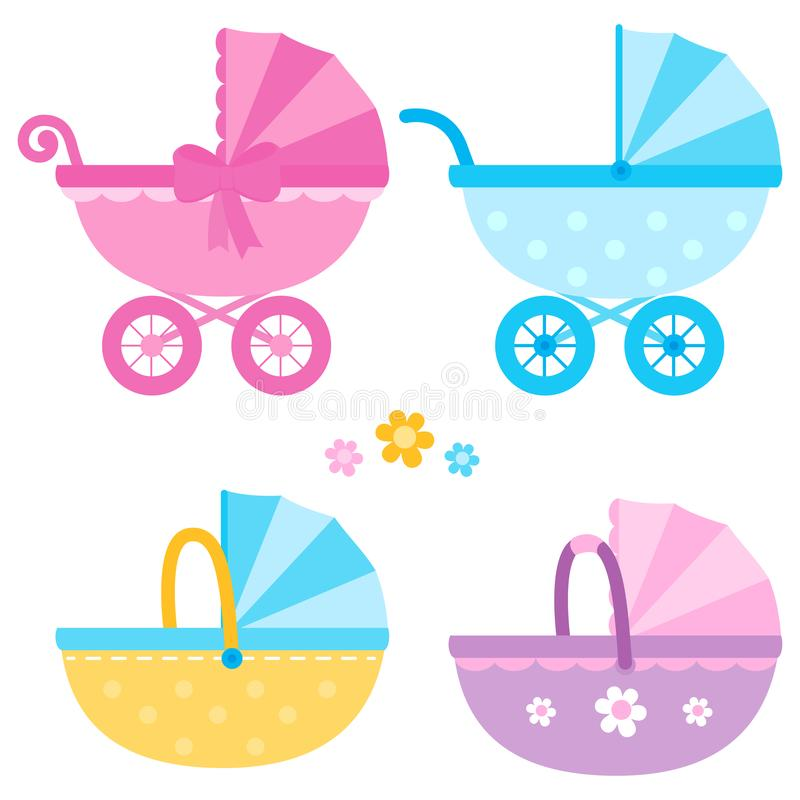 Baby strollers in blue, yellow and pink colors. Vector collection stock illustration