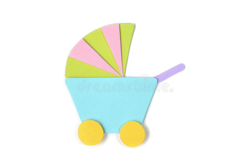 Baby strollers paper cut - isolated stock images