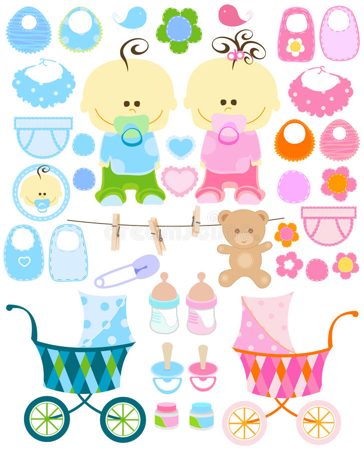Baby stuff. Baby girl and boy stuff collection stock illustration