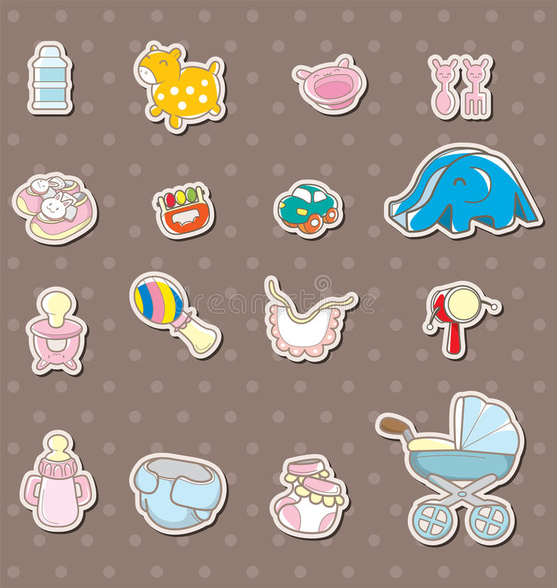 Baby stuff stickers royalty free illustration