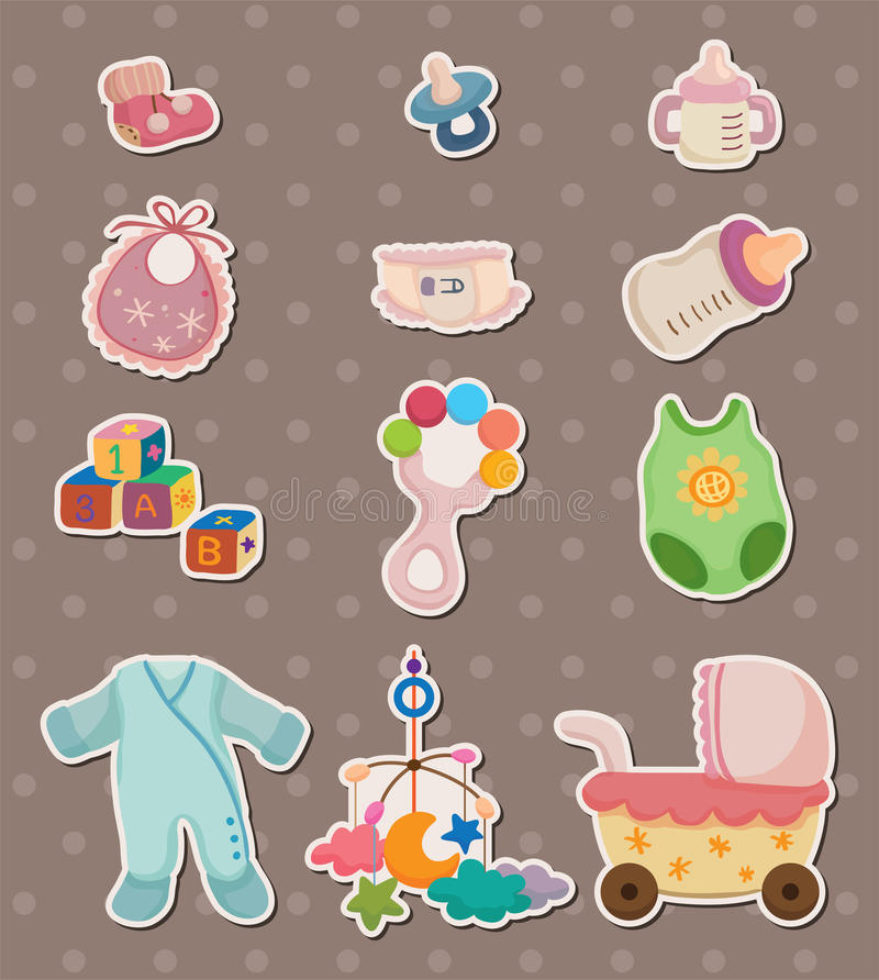 Download Baby stuff stickers stock vector. Image of draw, body - 24724296
