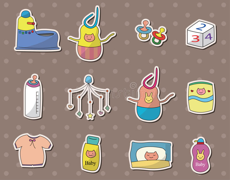 Download Baby stuff stickers stock vector. Image of diapers, gloves - 25609239