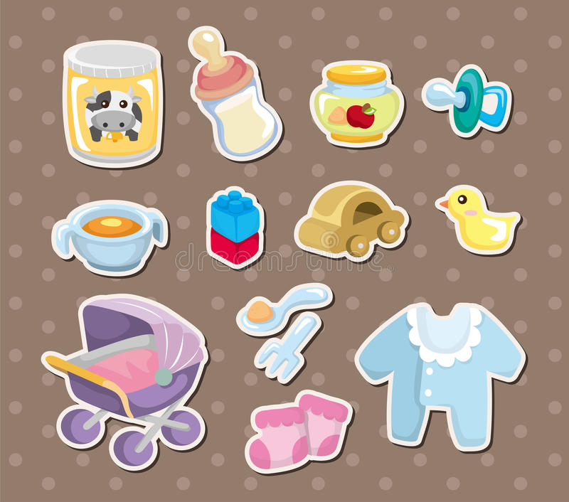 Download baby stuff stickers stock vector illustration of happiness 26071436