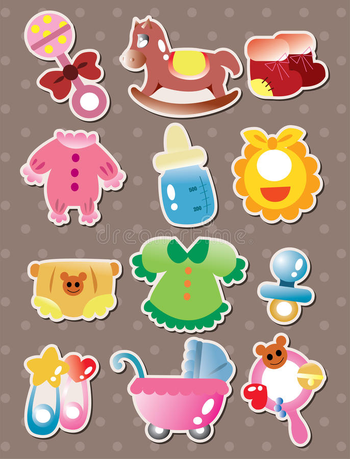 Download baby stuff stickers stock vector illustration of background 26852408