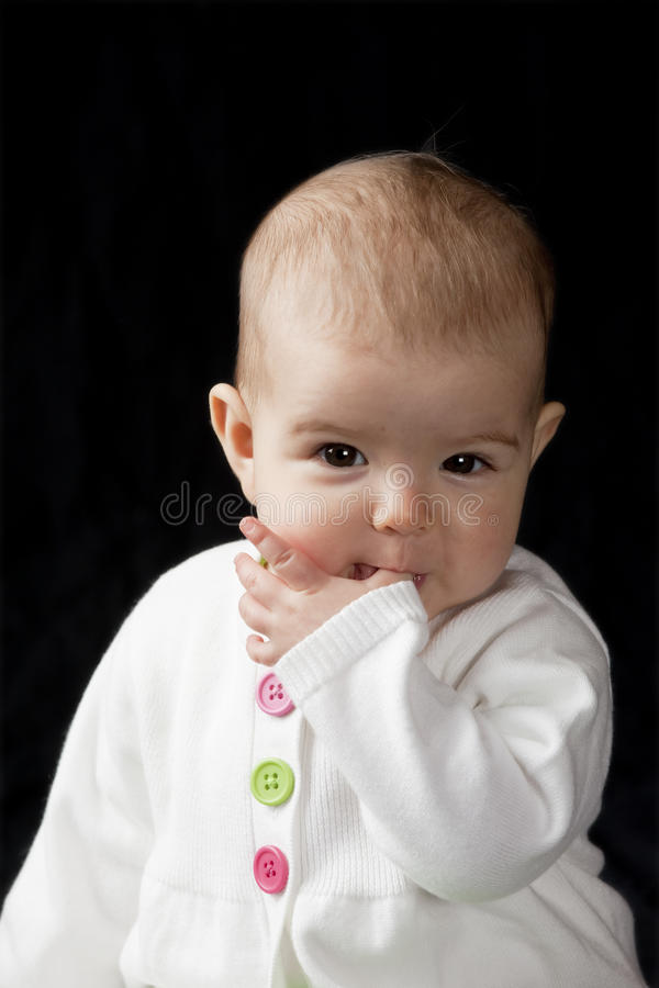 Download Baby sucking thumb stock photo. Image of dark, attractive - 13441848