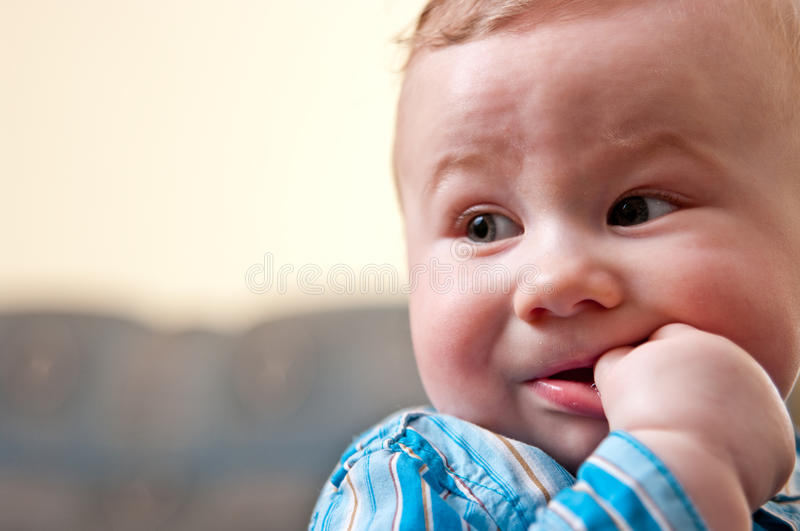 Download Baby sucking thumb stock image. Image of caucasian, concerned - 13630909