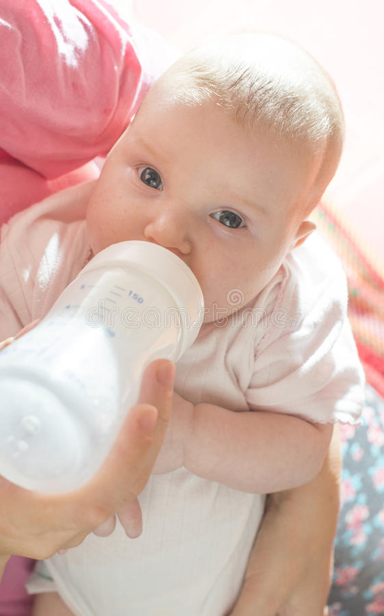 Baby sucks on a bottle. Baby in mother's hands royalty free stock photography