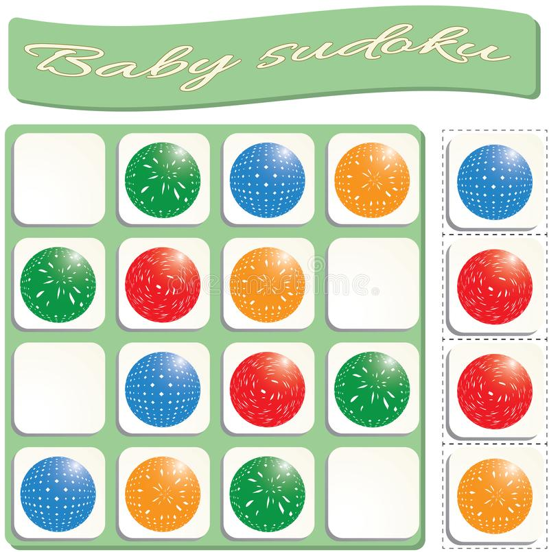 Baby Sudoku with colorful balls. Game for preschool kids, training logic vector illustration