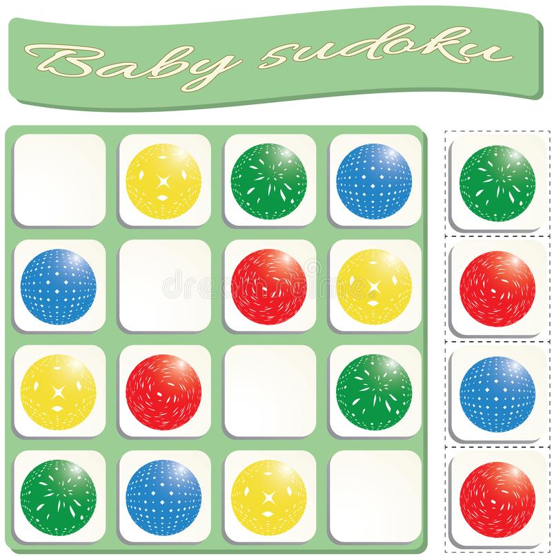 Baby Sudoku with colorful balls. Game for preschool kids, training logic stock illustration