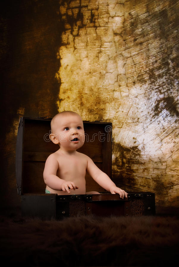 Baby In A Suit Case Stock Photos